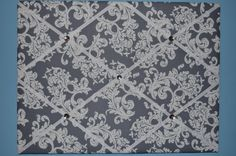 Gray & white floral french memo board by two dot designs