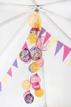 DIY yarn ball chandelier