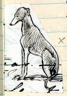 Eos sitting: pen and ink sketch of her dog by Queen Victoria,from her Journal dated Thursday 1st August 1844