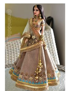 For a regular body type barbie and other similar sized dolls. (Doll/ jewelry not included) Barbie Clothes Patterns, Doll Clothes, Diy Barbie Clothes, Accessoires Barbie, Gold Lehenga, Wedding Doll, Indian Dolls, Cute Baby Dolls, Bride Dolls