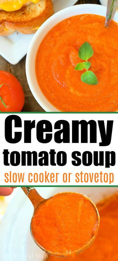 Creamy tomato soup in Crockpot or stovetop is here. The best homemade soup recipe for your slow cooker that's even better the next day. #creamytomatosoup #tomatosoup #crockpottomatosoup Slow Cooker Soup, Slow Cooker Recipes, Crockpot Recipes, Delicious Recipes, Easy Recipes, Crockpot Tomato Soup, Tomato Soup Recipes, Easy Family Meals, Easy Meals