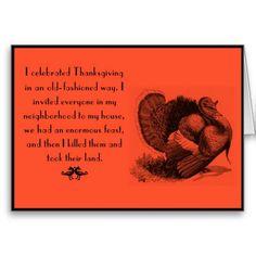 Fun Vintage Thanksgiving customized Greeting card.