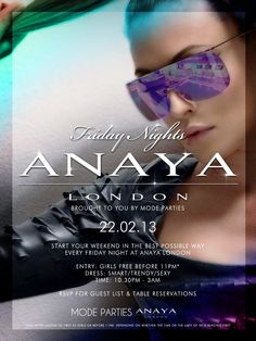 Start your weekend off right this #FRIDAY at #ANAYA! Contact: info@anayalondon / 0207 287 1919