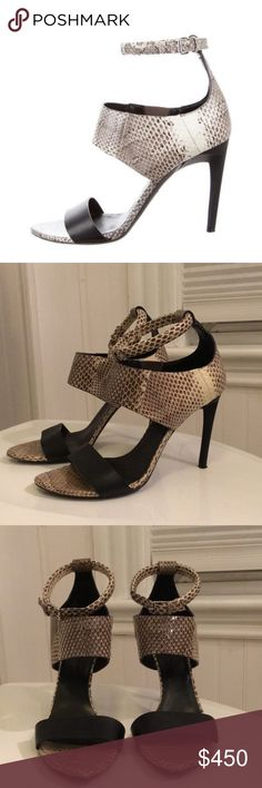 Maremma Snakeskin Sandals Brown and creme snakeskin Proenza Schouler sandals with leather trim, resin heels and buckle closure. Proenza Schouler Shoes Sandals