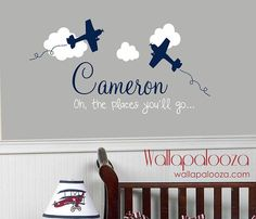AIRPLANE with Clouds Personalized Wall Decal by WallapaloozaDecals, $30.00
