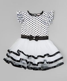 Love this Black & White Polka Dot Ruffle Dress - Infant, Toddler & Girls on #zulily! #zulilyfinds