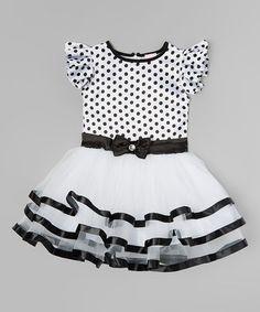 Another great find on #zulily! Black & White Polka Dot Ruffle Dress - Toddler & Girls #zulilyfinds