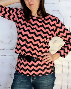 Timeless Tunic in Salmon and Black Chevron Knit by Gogreenstyle, $49.00