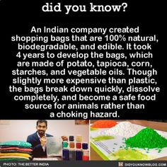 This is amazing!  #biodegradable #earth #environment   Share the knowledge! Tag your friends in the comments.  Want more Did You Know(s)?  Download our free App: [LINK IN BIO]  Get text message alerts: http://Fact-Snacks.com   Buy our book on Amazon: http://bit.ly/DidYouKnowBook    Free email newsletter: http://bit.ly/DidYouKnowEmail  We post different content on each channels. Follow us so you don't miss out! http://ift.tt/1FVnDRT http://twitter.com/didyouknowfacts  #DYN #FACTS #TRIVIA #TIL…