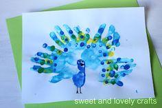 Peacock Craft made from handprints & fingerprints