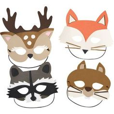 Woodland Masks Kit - these cute critters are the talk of the forest! Disguise yourself as your favorite woodland animal - deer, fox, squirrel, or raccoon.For the PHOTO BOOTH Woodland Theme, Woodland Baby, Party Animals, Animal Party, Woodland Creatures, Woodland Animals, Felt Crafts, Paper Crafts, Diy Paper