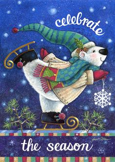Skating polar bear with light blue scarf...perfect for representing my kids this holiday season!