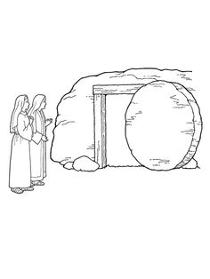 A Black And White Illustration Of Two Women Standing Outside Of The Empty  Tomb