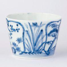 花菖蒲に松竹梅絵・antique蕎麦猪口