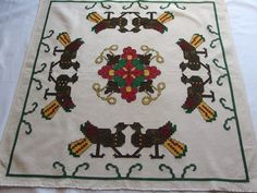 Vintage Embroidered Large Pillow cover Tablecloth Wall hanging Birds Flower Square Counted Cross stitch by VintageHomeStories on Etsy Large Pillow Covers, Large Pillows, House By The Sea, Cottage Chic, Decoration, Crochet, Embroidery Patterns, Vibrant Colors, Cross Stitch