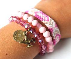 Zomerse armband roze paars   Nieuw   nikki Dotti