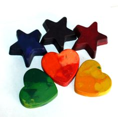 SCENTED Recycled Crayons - set of 6 large coloring crayons - heart, star, reuse, custom scent, party favor, school supply, valentine's day. $10.00, via Etsy.