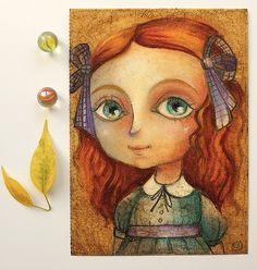 "Lewis Carroll - ""Alice in wonderland"" - oil pastels Alice portrait - 5.9x7.9 inches OOAK"