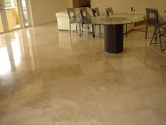 Marble Flooring for Your Great Choice of Flooring: Exquisite Elegant Marble Flooring With Rounded Glass Top Dining Table Furniture ~ workdon.com Flooring Inspiration
