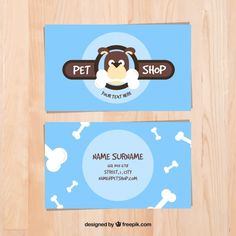 Tarjeta celeste de tienda de mascotas Vector Gratis