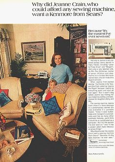 1970 Jeanne Crain (Actress) Sears Kenmore Sewing Machine Print Ad magazine Page. Contemporary cabinet