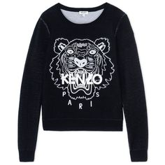 Kenzo Black Wool-Blend Embroidered Sweater (4 545 SEK) ❤ liked on Polyvore featuring tops, sweaters, black, wool blend sweaters, black embroidered top, embroidered sweaters, embroidery tops and black top