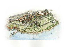 Disegno ricostruttivo del Gran Palazzo di Costantinopoli, residenza degli imperatori bizantini dal 330 all'XI sec. d.C. L'ampio complesso, posto nei pressi dell'Ippodromo e della basilica di Santa Sofia, venne danneggiato da un incendio nel 532, e ricostruito e ampliato sotto Giustiniano (527-565), Giustino II (565-578), e Tiberio I Costantino (578-582).