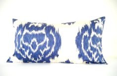Navy Blue Ikat Pillows, Long Bolster Pillow, Bohemian Decor, Monaco Blue, 12x22 Inch, Black Friday Etsy, Cyber Monday Etsy$49