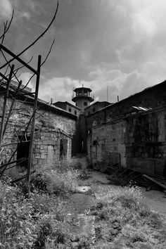 A view of the central guard tower amidst the cell blocks.