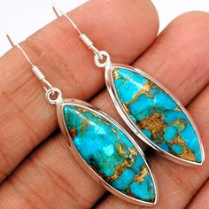 Copper Blue Arizona Turquoise 925 Sterling Silver Earrings Jewelry BCTE1326 - JJDesignerJewelry