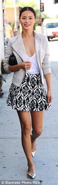 #casualwear #streetstyle | Jamie Chung in a beige bicker jacket, black brocade print mini skirt and metallic flats