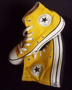 Yellow high-top Converse for Wooster spirit - with leggings and Wooster gear for games