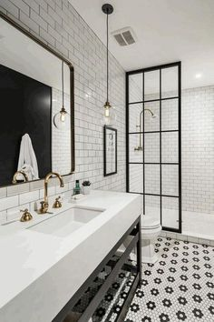 Jorie Martin saved to home Awesome Black And White Subway Tiles Bathroom Design Creative Industrial Bathroom Renovation Ideas To Nail Your Home White Subway Tile Bathroom, Black White Bathrooms, Black And White Bathroom Ideas, White Bathroom Tiles, Black And White Interior, Victorian Tiles Bathroom, Black And White Flooring, 1930s Bathroom, Retro Bathroom Decor