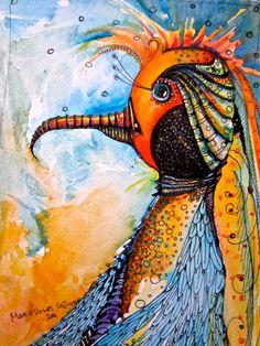 Illustration Bird Painting  Art Prints by Mary Vogel Lozinak zentangle z 10x14. $20.00, via Etsy.