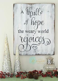 """A thrill of hope"" White Christmas Wood Sign {ready-to-ship}"
