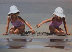 Galerie de l'Estuaire - Nicolas ODINET Painting People, Figure Painting, Art Plage, Illustrations, Illustration Art, Water Art, Beach Scenes, Beach Art, Pictures To Paint
