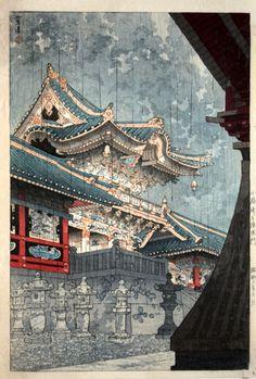 Yomei Gate in Light Rain, by Kasamatsu Shiro, 1935 -- See also at: http://www.hanga.com/viewimage.cfm?ID=2598
