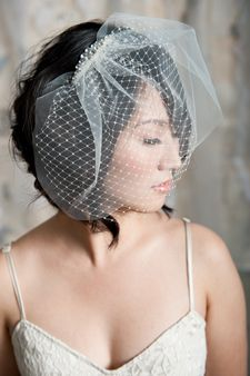 Birdcage wedding veil with rhinestone comb...with a headband since I have very short hair.