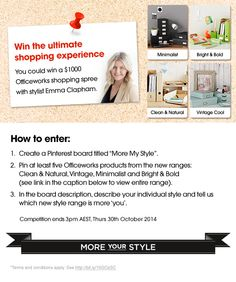 Win a $1,000 Officeworks shopping spree with Stylist, Emma Clapham! Click on the image to view terms and conditions.