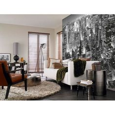 """Interior view """"Midtown New York"""". Make your living room look and feel bigger with the wondrous (8-part, 366 x 254 cm) """"Midtown New York"""" Ideal Decor non-woven premium wall mural from W+G, one of the leading European publishers of large format wall décor"""