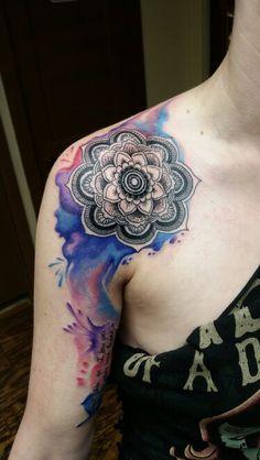 Mandala tattoo with watercolors