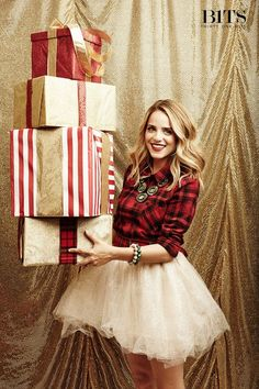 Cute holiday outfit! #Plaid #tulle