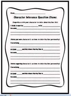 FREE Character Inference Question Stems Use these FREE question stems to help your students make inferences, and cite evidence, about the character's personalities in their independent reading books. Can be used on sticky notes for students to mark durin Library Lessons, Reading Lessons, Reading Strategies, Reading Skills, Teaching Reading, Reading Comprehension, Reading Books, Guided Reading, Learning