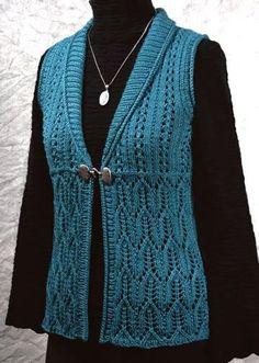 Knitting Patterns Vest knitted+lace+vest+pattern+for+women Lace Knitting Patterns, Knitting Designs, Knitting Yarn, Baby Knitting, Knitting Ideas, Knit Cardigan Pattern, Mode Blog, Knit Or Crochet, Crochet Clothes