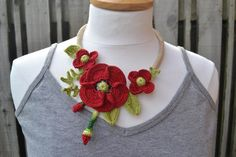 Red poppies crochet necklace choker flower floral cotton freeform