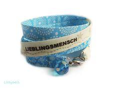 Wickelarmband mit Text LIEBLINGSMENSCH von Lillybell - Handarbeit & Design auf DaWanda.com