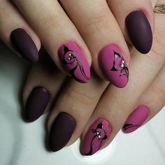 Dark matte maroon and matte fuschia with glossy black cat design short almond nails Acrylic Nail Shapes, Acrylic Nails, Pink Nails, Glitter Nails, Matte Pink, Black Nails, Almond Shape Nails, Almond Nails, Trendy Nail Art