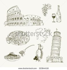 Freehand Drawing Italy Items On A Sheet Of Exercise Book Leaning Tower Pisa