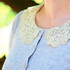 Learn how to give an old sweater a makeover by adding a pretty lace collar-Tutorial included
