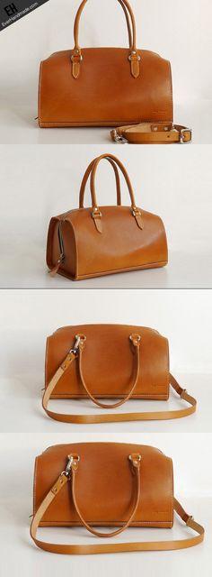 Handmade Leather handbag shoulder bag Boston bag brown for women leather shoulder bag
